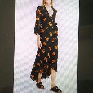 GANNI - Fairfax Georgette Wrap Floral Dress